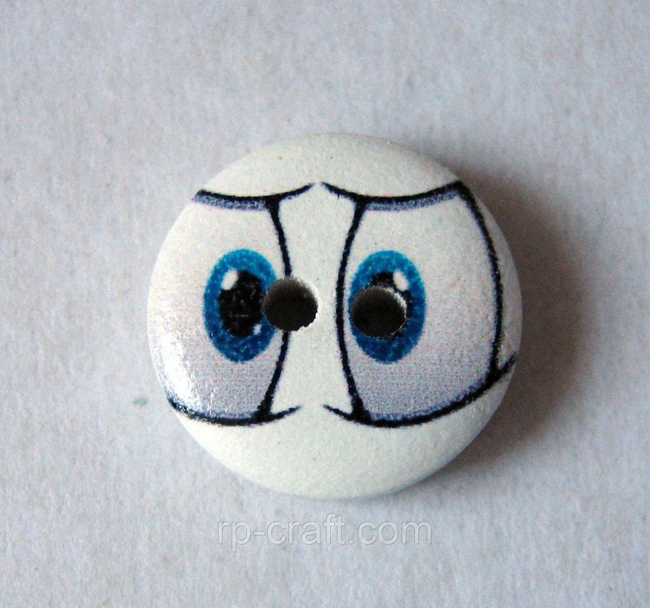 Ґудзик дерев'яна декоративна. Очі, 15 мм