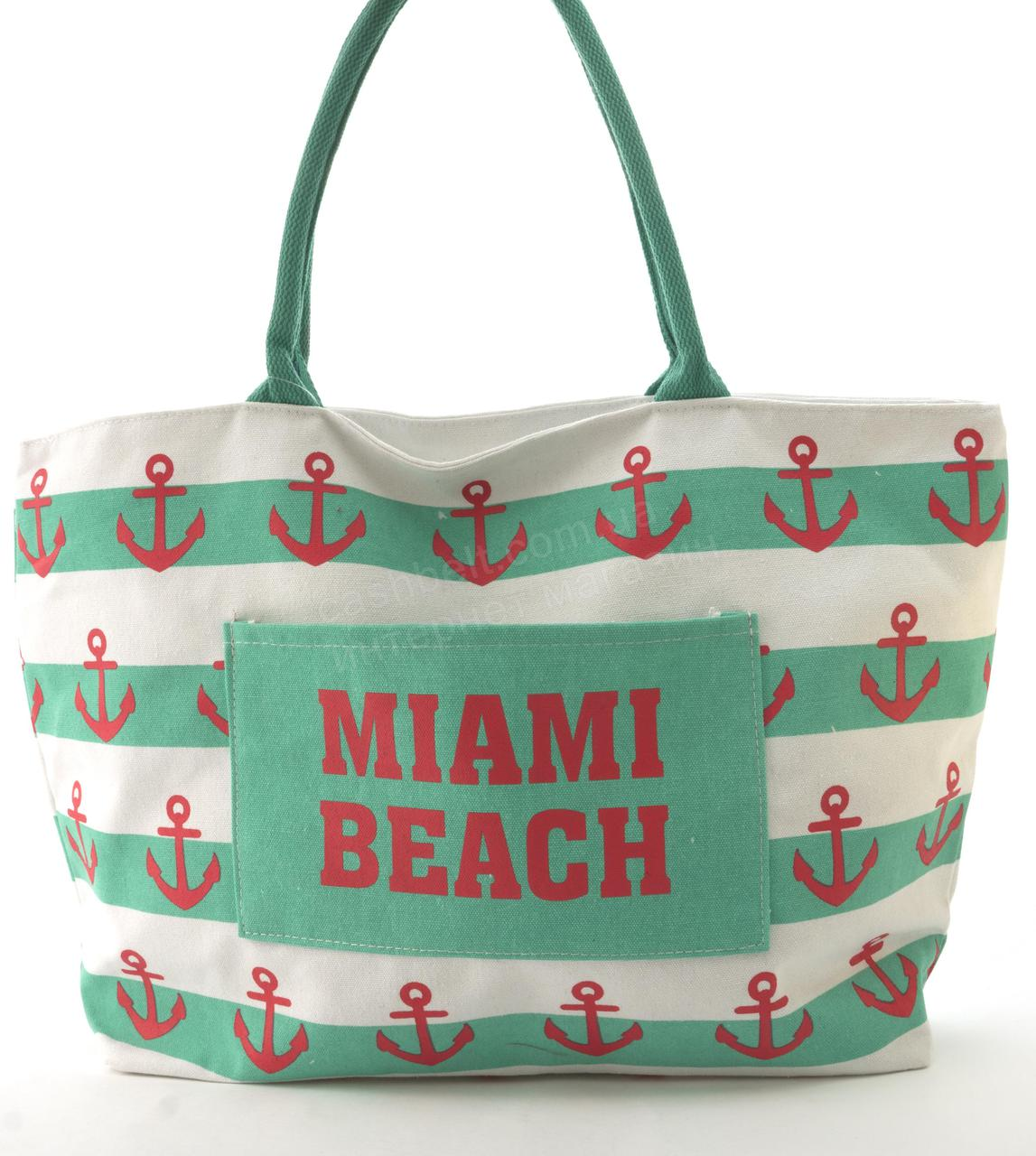 Прочная вместительная женская пляжная сумка art. 678 (101662) зеленые полосы и якоря