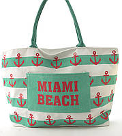 Прочная вместительная женская пляжная сумка art. 678 (101662) зеленые полосы и якоря, фото 1