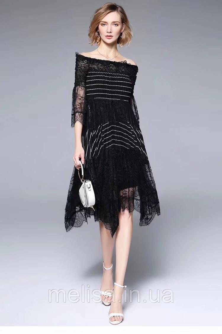 5b7696fe898 Черное платье с открытыми плечами Amodediosa - Интернет магазин женской  одежды Melisa в Харькове