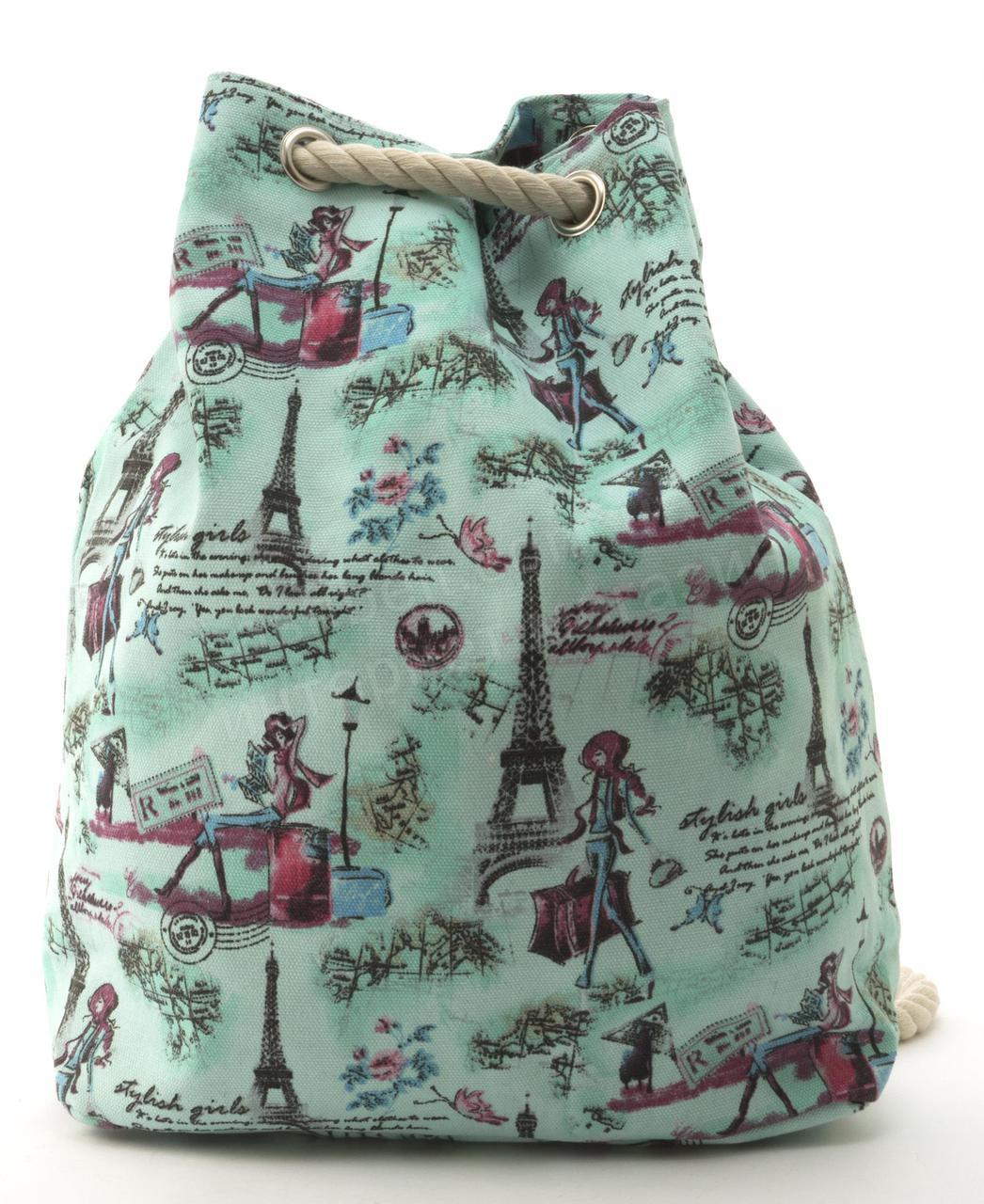 Прочная вместительная женская пляжная сумка рюкзак art. 1507 (101743) зеленый