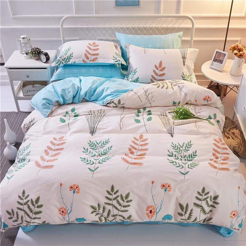 Хлопковый комплект голубого постельного белья Растения (полуторный)