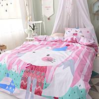 Хлопковый комплект постельного белья Белый лис (полуторный), фото 1