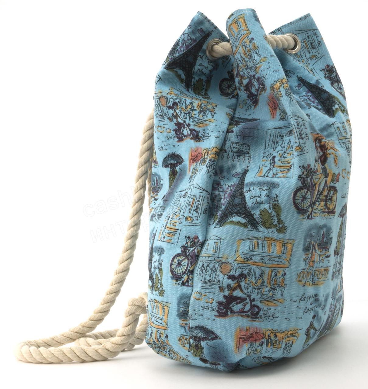 63320763fde2 Прочная вместительная женская пляжная сумка рюкзак art. 1507 (101744)  голубая, фото 2 ...