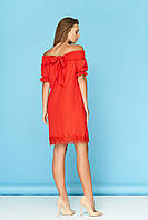 Летнее стильное платье на широкой резинке с бантом красное