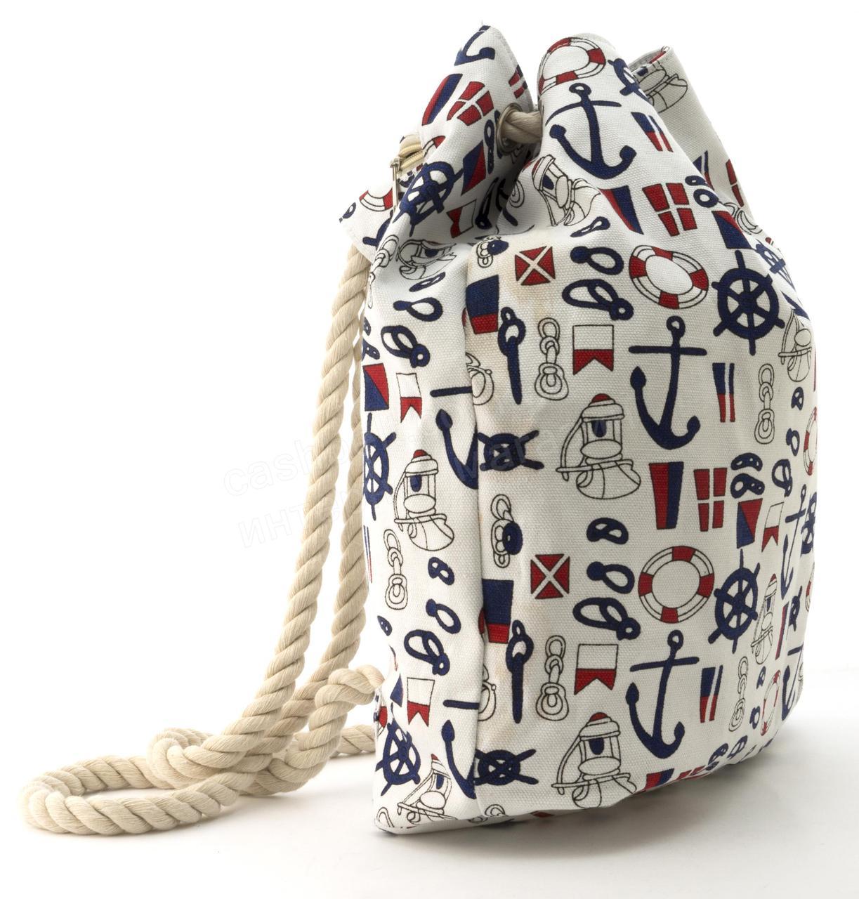 c78e2e1639ef Прочная вместительная женская пляжная сумка рюкзак art. 1507 (101741)  белая, фото 2 ...