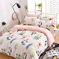 Хлопковый комплект постельного белья Луговые цветы (двуспальный-евро)  , фото 1