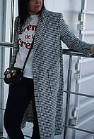 """Женское демисезонное пальто с принтом """"гусиная лапка"""", фото 1"""