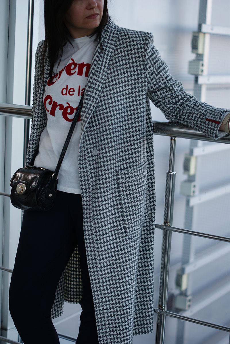 """Женское демисезонное пальто с принтом """"гусиная лапка"""""""