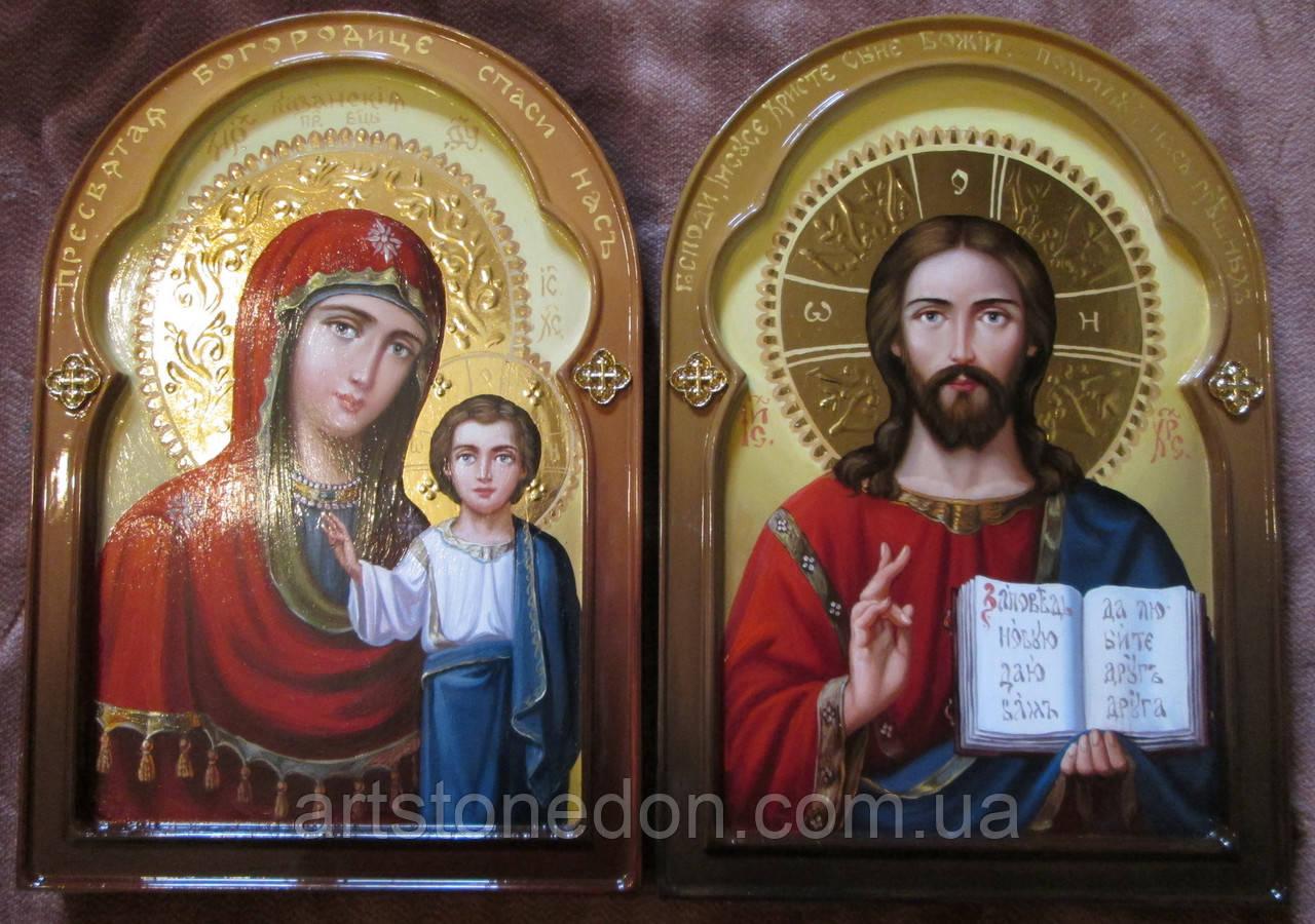 Венчальная пара писаная Господь Вседержитель и Казанская икона Божьей Матери