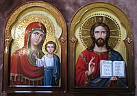 Венчальная пара писаная Господь Вседержитель и Казанская икона Божьей Матери, фото 1