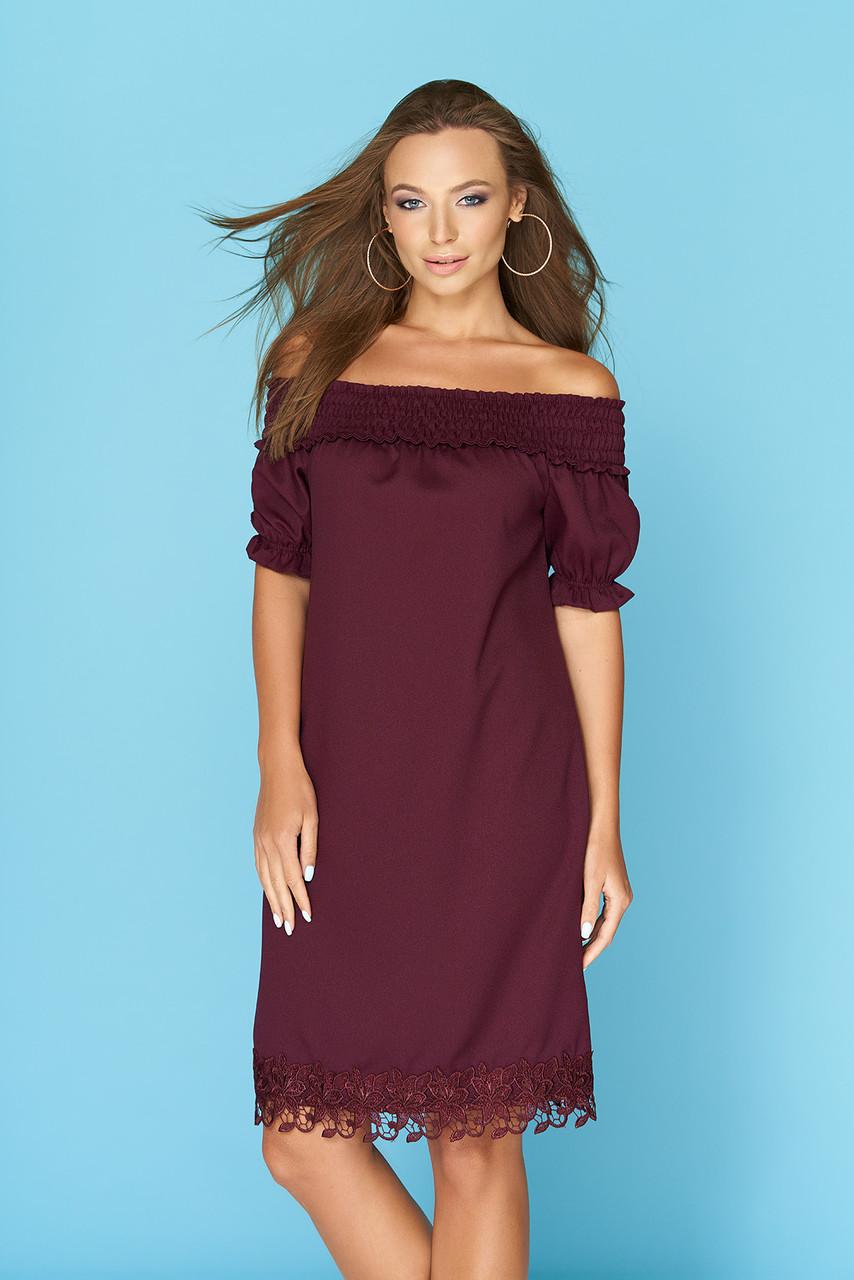 Нарядное платье средняя длина с кружевами рукав фонарик марсала