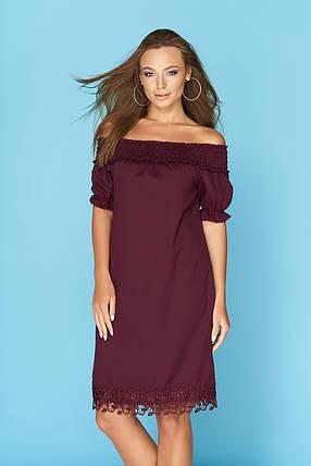 Нарядное платье средняя длина с кружевами рукав фонарик марсала, фото 2