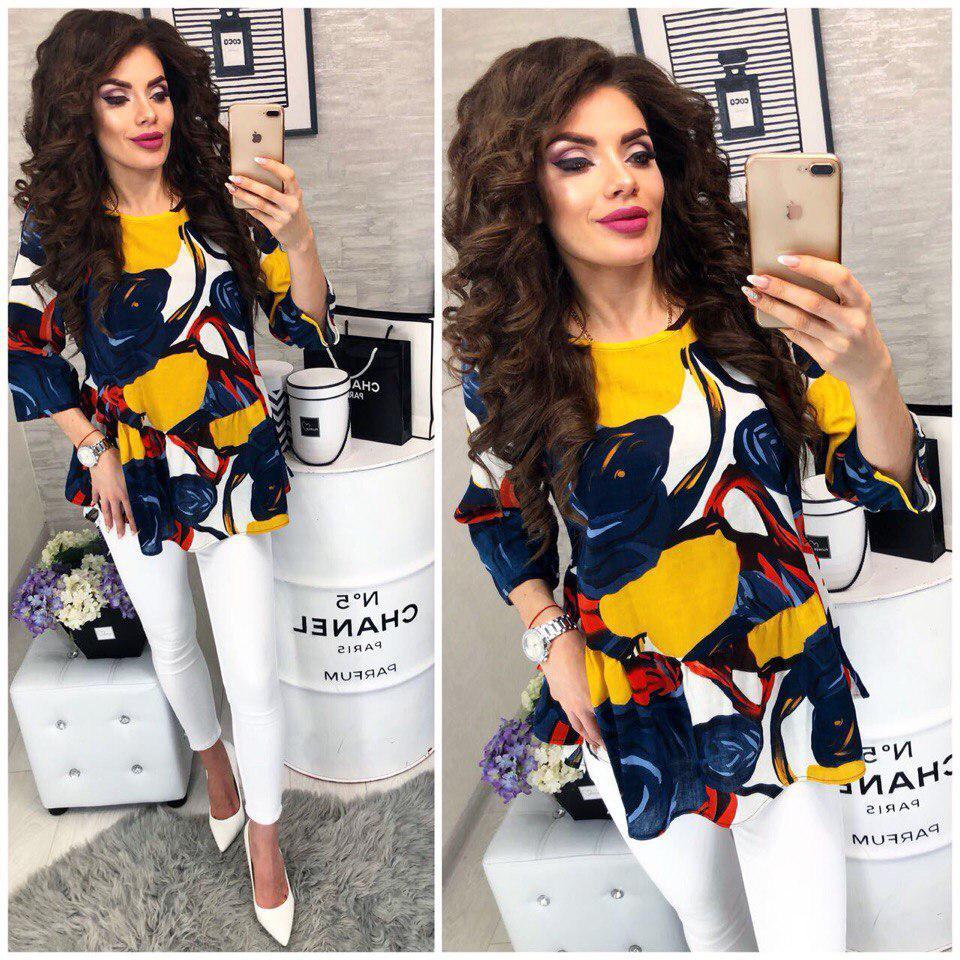 Блузка женская модная с ярким принтом