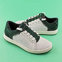 Кожаные туфли белые с зеленым для подростка мальчика размер 33,34,35