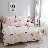 Хлопковый комплект постельного белья Фламинго (двуспальный-евро)