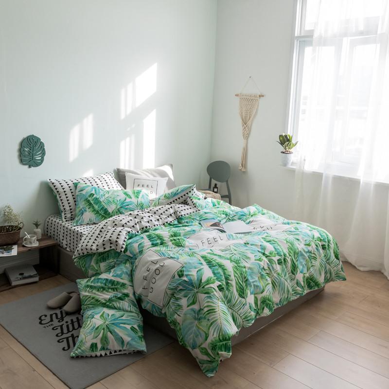 Хлопковый комплект постельного белья Тропические растения (двуспальный-евро)
