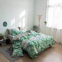 Хлопковый комплект постельного белья Тропические растения (двуспальный-евро) , фото 1