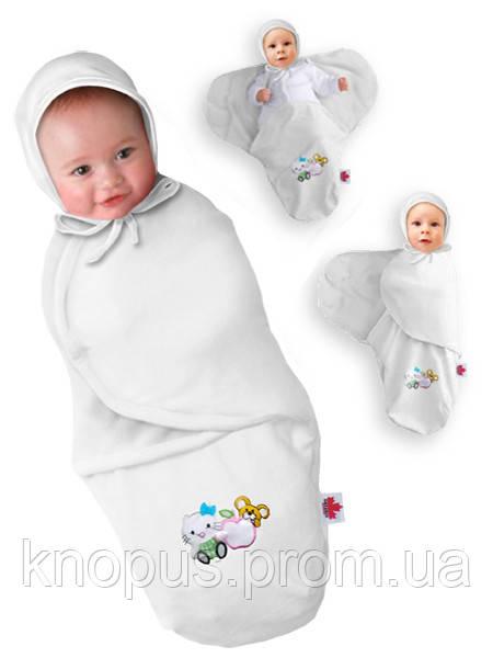 "Пеленка-кокон на липучке ""Крепкий сон 3"" Summer+ ""Eko-Cotton"", белая, Ontario Baby"