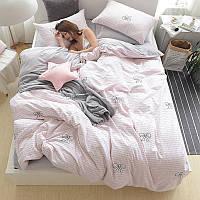 Розовый комплект постельного белья с бантиками (двуспальный-евро), фото 1