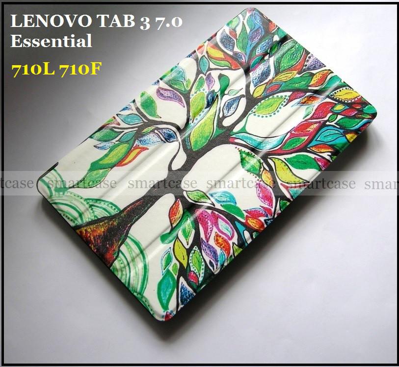 Цветной чехол книжка для Lenovo Tab 3 7.0 Essential 710L 710F эко кожа PU, цвет Life Tree (Живое дерево)