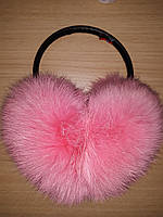 Меховые наушники из натурального меха кролика, нежно розовые