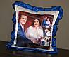Подушка с синими рюшками