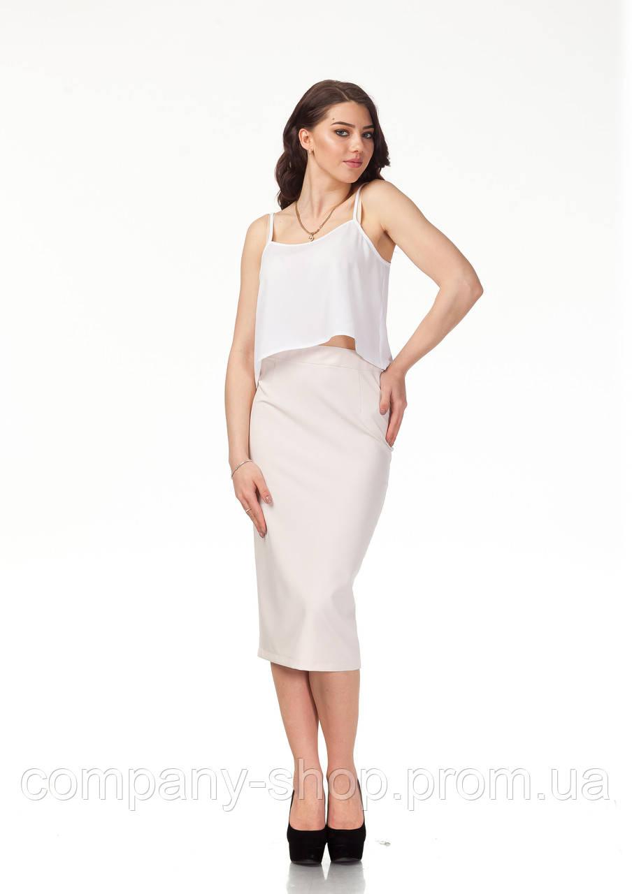 Классическая юбка-карандаш. Модель Ю065_светлый беж.