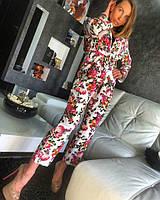 Красивый брючный женский костюм с цветочным принтом , фото 1