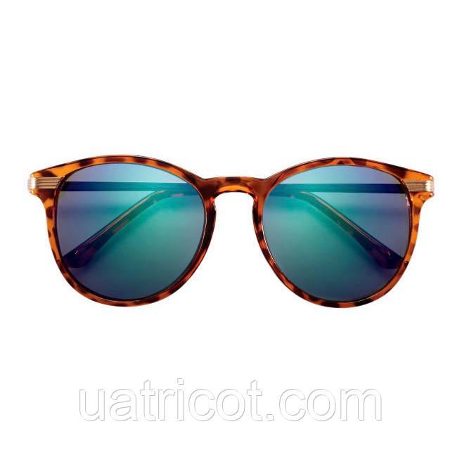 Женские солнцезащитные очки Премиум класса в коричневой оправе с зеркальными линзами