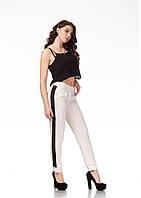 Женские брюки с манжетами оптом. Модель БР29_бежевый креп, фото 1
