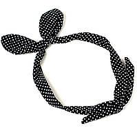 Повязка на голову Солоха черная в горошек, фото 1