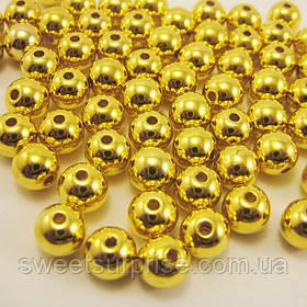 Бусины акриловые 8 мм. (золото)