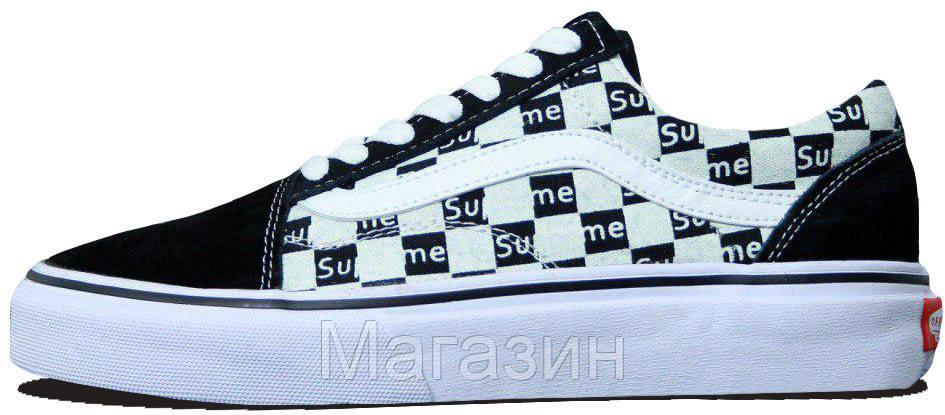 Женские кеды Supreme x Vans Old Skool Black/White (Ванс Олд Скул Суприм) в стиле черные