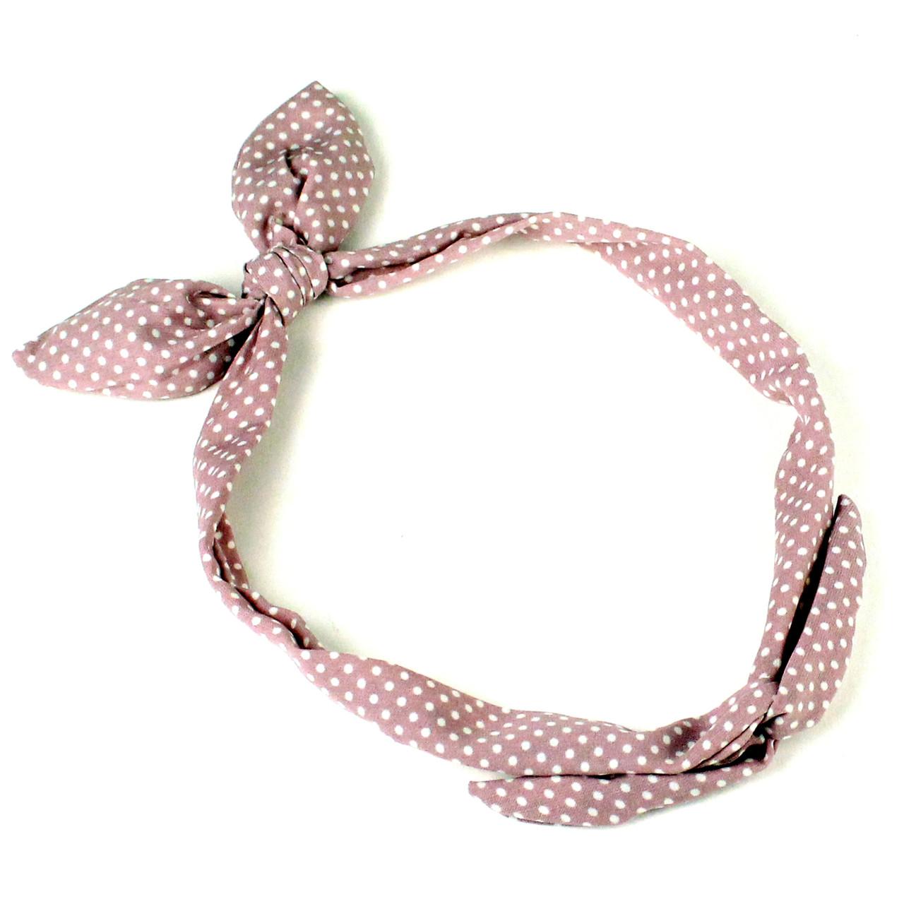 Повязка на голову Солоха розовая в горошек