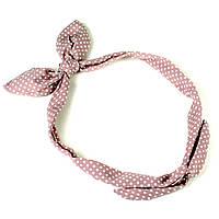 Повязка на голову Солоха розовая в горошек, фото 1
