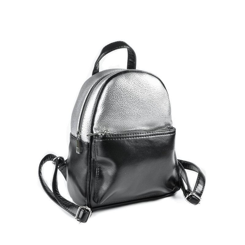 Женский комбинированый рюкзак черно-серебристый М124-Z 72 - Компания