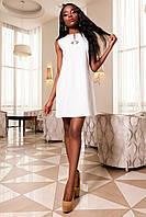 Красивое Платье Туника без Рукавов Молочное S-XL