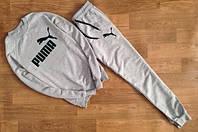 Трикотажный спортивный костюм Puma Пума серый (большой черный принт) (РЕПЛИКА)