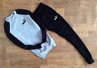 Спортивный костюм Puma Пума серый с черными рукавами (маленький черный  принт) (РЕПЛИКА)
