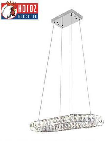 Led люстра подвесная с кристаллами овал 46W Polaris Horoz Electric, фото 2