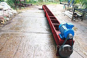 Шнековый транспортер в лотке (желобе) 200 мм, 1 м.