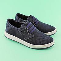 Синие туфли кожаные для мальчика подростка Нубук размер 32 feaa45a27f19f