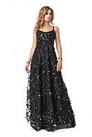 Шикарное длинное женское платье черного цвета