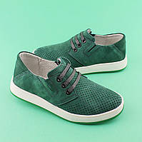 Зеленые туфли кожаные для мальчика подростка Нубук размер 32,34,36,37,39