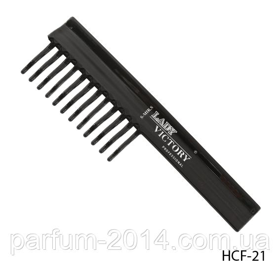 Пластикова гребінець HCF-21 з рідкими зубцями, плоска з ручкою, розмір: 19,3х5,8 см