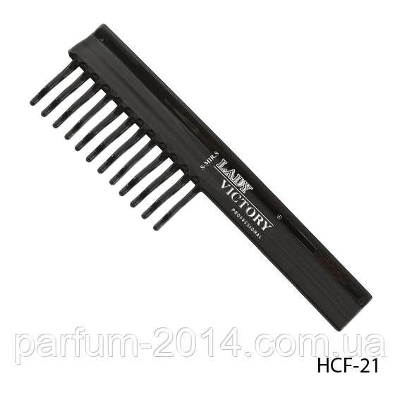 Расческа пластиковая HCF-21 с редкими зубцами, плоская с ручкой, размер: 19,3х5,8 см