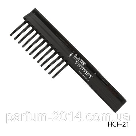 Пластикова гребінець HCF-21 з рідкими зубцями, плоска з ручкою, розмір: 19,3х5,8 см, фото 2