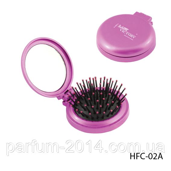 Расческа компактная HFC-02A массажная с зеркалом, складная, круглая, размер: 7,5х2,5 см