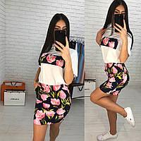 Женский стильный комбинированный костюм: футболка и юбка с принтами (3 цвета)